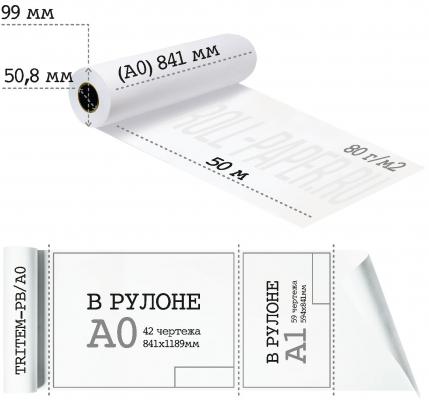 Бумага в рулоне плоттерная А0 841-50-50,8 (80 г/м2).