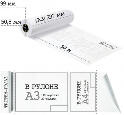 Бумага для плоттера А3 297-50-50,8 (80 г/м2)